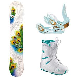 Snowboard Special Lady Womens Complete Snowboard Package - With the Black Fire Special Lady Snowboard Package you will be able to progress confidently and acquire the skills needed to truly enjoy all the mountain has to offer. The Black Fire Special Lady Snowboard is a great entry-level board designed to provide you with a great edge hold so you can perfect those turns. There's even some pop to this board so you can start learning how to maneuver around the park. The SLNC III Bindings are all-mountain bindings designed for the beginner who wants comfort and control. Your feet will be nestled inside the Salomon Pearl Snowboard Boots which offer a mellow flex and Feel Good Liner which is cushy and comfy. An AutoFit Foam construction also ensures comfortable feet for all day riding. Soon you will be carving into the black diamonds or jamming on rails in the park but first, perfect the basics with the Black Fire Special Lady Snowboard Package. . Recommended Use: All-Mountain, Snowboard Rocker Profile: Camber, Package Type: Board, Boots, and Bindings, Model Year: 2013, Product ID: 303094, Gender: Womens - $249.99