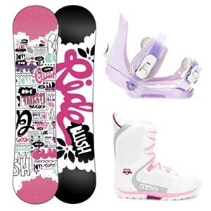 Snowboard Ride Blush Slider Brigade Girls Complete Snowboard Package - The All-New Ride Blush Snowboard gives you total quality for your tiny tot. This performance full sidewall twin features the new Gummy Core offering a soft flex unlike anything else on the market. Utilizing Ride's brand new youth board tool for a refined shape that maximizes the learning curve and offers a surfy hook-free feel. Your little ripper will enjoy the ability to turn and learn with ease, while parents will enjoy the ease on their pocket book when handing down this durable deck to the next little one in the family. This package also includes the 5th Element Stealth binding. This binding is perfect for your little one's first time on the hill. With easy adjustable tool-less straps you can fit the binding to the boot easily. Soft EVA foam provides nice padding across the boot for control and comfort. Padding on the highback allows for easier heelside turns and even more comfort for your kid. Mom and Dad can now enjoy the luxury of sipping on hot chocolate while they watch the progression of their kid unfold before their very own eyes. The 5150 Brigade Snowboard boots offers smaller fit a fit like no other, the Brigade snowboard boot is a high performance snowboard boot made specifically for the Young guns. Waterproof shell construction provides the ergonomic support they need to shred hard, while the integrated liner keeps feet warm and comfy all day. The durable Sidewinder outsole design features ultimate cushion and traction. . Recommended Use: All-Mountain Freestyle, Snowboard Rocker Profile: Rocker, Package Type: Board, Boots, and Bindings, Skill Range: Beginner - Advanced Intermediate, Model Year: 2013, Product ID: 304500, Gender: Girls, Skill Level: Beginner - $199.99