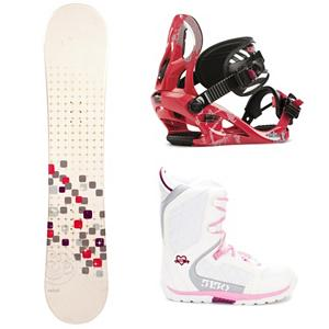 Snowboard Swivel Sparkle Kat Brigade Girls Complete Snowboard Package - A cool and fun entry-level board for your little girl is the Swivel Sparkle Girls Snowboard. You can help your little girl progress into higher skill levels on her very own board! It has a soft flex and a camber profile so she can continue learning on a responsive board with very good edge hold. She will soon become a great carving into the mountain. She will gain the confidence to try out new tricks and, with its pop, she can even spend some time in the park. She will love having a new and cool board to call her own and this will allow you to get to the mountain quicker instead of stopping for a rental board that she needs to get used to. A great value for a new entry-level board, your little girl will love the Swivel Sparkle Snowboard. The Kat binding is designed for the inspiring girl ripper that learns every turn on the mountain. The A Line Chassis provides comfy lightweight support with a contoured Caddi Ankle strap. Most importantly, the Kat is ready for multiple seasons with a forgiving flex and durable design. The K2 Kat is a binding that is constantly ready for on the hill fun. The 5150 Brigade Snowboard boots offers smaller fit a fit like no other, the Brigade snowboard boot is a high performance snowboard boot made specifically for the Young guns. Waterproof shell construction provides the ergonomic support they need to shred hard, while the integrated liner keeps feet warm and comfy all day. The durable Sidewinder outsole design features ultimate cushion and traction. . Recommended Use: All-Mountain Freestyle, Snowboard Rocker Profile: Camber, Package Type: Board, Boots, and Bindings, Skill Range: Beginner - Intermediate, Model Year: 2013, Product ID: 304536, Gender: Girls, Skill Level: Beginner - $199.99