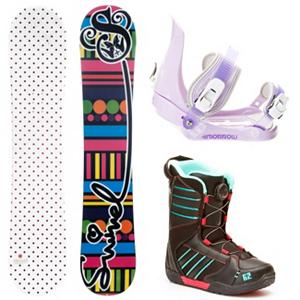 Snowboard Swivel Polka Dot Slider Kat Girls Complete Snowboard Package 2013 - If you're looking for a great snowboard for your beginner to intermediate rider at a great price, look no further! The Swivel Polka Dots Girls Snowboard is a great choice for just about any girl on the mountain. The soft flex pattern makes it very forgiving to ride, so it is great for beginners. The cap construction sidewall lightens up the board a bit, helping your little one excel in her riding. The Swivel Polka Dots snowboard will make your child's day on the mountain perfect! A binding for groms that are riding with the big boys, the Morrow Slider is small for kids but big in performance. They feature a tool-less forward lean adjustment which allows you to adjust them quickly and easily for that customized heel edge power. The 360 degree disc mount gives you multiple options for your stance and they also feature a quick and easy to use aluminum ratchet buckles. You will have Happy Feet when you put on the K2 Kat Boa Snowboard boots. Nothing beats the Boa lacing system when it comes to easy tightening. Internal J Bars prevent heel slip, add in the warmth, comfort and support provided by a Unified shell/liner and you will have a future pro on your hands. Grows a Long insole keeps parents happy by not buying new boots every season. . Recommended Use: All-Mountain Freestyle, Snowboard Rocker Profile: Camber, Package Type: Board, Boots, and Bindings, Skill Range: Beginner - Intermediate, Model Year: 2013, Product ID: 304544, Gender: Girls, Skill Level: Beginner - $249.99
