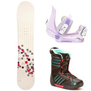Snowboard Swivel Sparkle Slider Kat Girls Complete Snowboard Package - A cool and fun entry-level board for your little girl is the Swivel Sparkle Girls Snowboard. You can help your little girl progress into higher skill levels on her very own board! It has a soft flex and a camber profile so she can continue learning on a responsive board with very good edge hold. She will soon become a great carving into the mountain. She will gain the confidence to try out new tricks and, with its pop, she can even spend some time in the park. She will love having a new and cool board to call her own and this will allow you to get to the mountain quicker instead of stopping for a rental board that she needs to get used to. A great value for a new entry-level board, your little girl will love the Swivel Sparkle Snowboard. This package also features the 5th Element Stealth binding. This binding is perfect for your little one's first time on the hill. With easy adjustable tool-less straps you can fit the binding to the boot easily. Soft EVA foam provides nice padding across the boot for control and comfort. Padding on the highback allows for easier heelside turns and even more comfort for your kid. Mom and Dad can now enjoy the luxury of sipping on hot chocolate while they watch the progression of their kid unfold before there very own eyes. You will have Happy Feet when you put on the K2 Kat Boa Snowboard boots. Nothing beats the Boa lacing system when it comes to easy tightening. Internal J Bars prevent heel slip, add in the warmth, comfort and support provided by a Unified shell/liner and you will have a future pro on your hands. Grows a Long insole keeps parents happy by not buying new boots every season. . Recommended Use: All-Mountain Freestyle, Snowboard Rocker Profile: Camber, Package Type: Board, Boots, and Bindings, Skill Range: Beginner - Intermediate, Model Year: 2013, Product ID: 304552, Gender: Girls, Skill Level: Beginner - $249.99