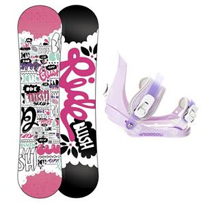 Snowboard Ride Blush Slider Girls Snowboard and Binding Package 2013 - The All-New Ride Blush Snowboard gives you total quality for your tiny tot. This performance full sidewall twin features the new Gummy Core offering a soft flex unlike anything else on the market. Utilizing Ride's brand new youth board tool for a refined shape that maximizes the learning curve and offers a surfy hook-free feel. Your little ripper will enjoy the ability to turn and learn with ease, while parents will enjoy the ease on their pocket book when handing down this durable deck to the next little one in the family. A binding for groms that are riding with the big boys, the Morrow Slider is small for kids but big in performance. They feature a tool-less forward lean adjustment which allows you to adjust them quickly and easily for that customized heel edge power. The 360 degree disc mount gives you multiple options for your stance and they also feature a quick and easy to use aluminum ratchet buckles. . Recommended Use: All-Mountain Freestyle, Snowboard Rocker Profile: Rocker, Package Type: Board and Bindings, Skill Range: Beginner - Advanced Intermediate, Model Year: 2013, Product ID: 305000, Gender: Girls, Skill Level: Beginner - $169.99