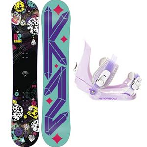 Snowboard K2 Kandi Slider Girls Snowboard and Binding Package - The K2 Kandi wants you to have sweet time on slopes all day everyday. The K2 Kandi is a lightweight progression snowboard for the inspiring girls on the rise. Catch Free Rocker baseline combined with Hypritech construction allows girls to make new turns and land new tricks with ease. With a soft centered flex makes this a very forgiving snowboard that allows girls to progress their skills while still having fun with their friends. A binding for groms that are riding with the big boys, the Morrow Slider is small for kids but big in performance. They feature a tool-less forward lean adjustment which allows you to adjust them quickly and easily for that customized heel edge power. The 360 degree disc mount gives you multiple options for your stance and they also feature a quick and easy to use aluminum ratchet buckles. . Recommended Use: All-Mountain Freestyle, Snowboard Rocker Profile: Rocker, Package Type: Board and Bindings, Skill Range: Beginner - Intermediate, Model Year: 2013, Product ID: 305003, Gender: Girls, Skill Level: Beginner - $199.99