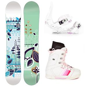 Snowboard Salomon Lotus Womens Complete Snowboard Package - A quality board, boot and binding combo that won't break the bank, the Salomon Lotus Snowboard Package is designed for the entry-level rider who wants to learn all the basic skills of snowboarding so that they can one day be the queen of the mountain. Whether you dream of carving into the black diamonds or floating on powder, the Salomon Lotus Snowboard is the one. It's a user-friendly board which offers easy turning and smooth riding with an easy flex. It has a twin directional shape so you can start working on some tricks for the park as well. You'll have the excellent Burton Citizen Bindings to hook your boots in to. They have a super lightweight single component for exceptional response in a variety of conditions. You'll have EVA Cushioning to give you greater comfort and a Gas Pedal feature which is designed to heightens toe edge response while reducing drag. The CYCAB A50 Womens snowboard boots are made specifically for women They are made up of a synthetic leather which makes the A50 a very tough and stylish pair of boots. The liners are shaped specifically to the contour of a women's foot which makes them extremely supportive and comfortable. Traditional lacing on these boots allow you to get an old school fit for maximum fit and comfort. This versatile and fun Salomon Lotus Snowboard Package is great for any gal who is all about having fun when the snow falls and doesn't want to waste time and money renting another used board. . Recommended Use: All-Mountain, Snowboard Rocker Profile: Flat, Package Type: Board, Boots, and Bindings, Model Year: 2012, Product ID: 305448, Gender: Womens - $249.99