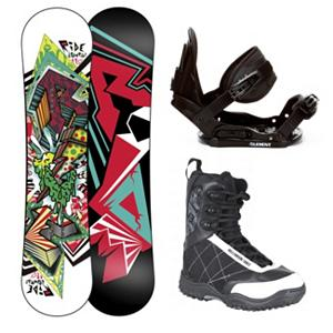 Snowboard Ride Lowride Stealth Militia Kids Complete Snowboard Package - The Ride Lowride Snowboard was made specifically for the mini-shred. Start your future shredder off right with this performance full sidewall twin featuring the new Gummy Core offering a much softer flex. Completely re-tooled for a refined shape that maximizes the learning curve and offers a surfy hook-free feel. Your little ripper will enjoy the ability to turn and learn with ease, while parents will enjoy the ease on their pocket book when handing down this durable deck to the next little one in the family. So your little one wants to start snowboarding this year. If your freaking out on what to get him look no further then the 5th Element Kids snowboard binding. This binding is perfect for your little ones first time on the hill. With easy adjustable tool-less straps you can fit the binding to the boot easily. Soft EVA foam provides nice padding across the boot for control and comfort. Padding on the highback allows for easier heelside turns and even more comfort for your kid. Mom and Dad can now enjoy the luxury of sipping on hot chocolate while they watch the progression of their kid unfold before there very own eyes. The 5th Element bindings is a perfect inexpensive binding that will allow your kid to progress to the next level. The Millennium 3 Junior Militia Snowboard boots feature a removable Stitched Liner with the Soft Touch laces. This extremely soft flexing boot is absolutely a dream for beginning riders. Their skills will take off as they confidently and comfortable go from just a beginner rider to a pro shredder with the Militia's forgiving flex, rubber outsole, and a soft and comfortable Thermoform EVA footbed and the durable polyurethane and Nylon upper shell construction. . Recommended Use: All-Mountain Freestyle, Snowboard Rocker Profile: Rocker, Package Type: Board, Boots, and Bindings, Skill Range: Beginner - Advanced Intermediate, Model Year: 2013, Product ID: 306000, Gender: Boys, - $219.99