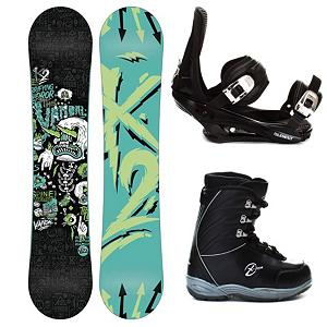 Snowboard K2 Vandal Kids Complete Snowboard Package - K2 Vandal Snowboard Package has all you need to get your little shredder going on the mountain. It packs it all into a price-friendly package to help junior progress. Designed as a versatile beginner board, the K2 Vandal is a great park board so they can dial in their freestyle skills with confidence. There's a Jib Rocker for energy and pop that also utilizes loose, buttery feel and quick response. Hypritech in the tip and tail reduce swing weight, able to initiate turns easier and durable. They'll have 5th Element Stealth Bindings which offer soft flexing and forgiveness. Padding underfoot dampens vibration and eliminates shock so they can feel free to take on anything and land a little easier. Simple, smooth gliding ratchets make for easy entry and exit, while tool-less adjustments allow you to customize this binding to any boot on the fly. The Black Dragon X-Ion Boys Snowboard Boots are soft flexing and feature a removable liner so their feet can remain comfy, cozy and warm. You'll have tons of value and quality with this K2 Vandal Snowboard Package and it is the perfect way to get that snowboard career off on the right foot. . Recommended Use: Freestyle, Snowboard Rocker Profile: Rocker, Package Type: Board, Boots, and Bindings, Skill Range: Intermediate - Advanced, Model Year: 2013, Product ID: 306100, Gender: Boys, Skill Level: Intermediate - $269.99