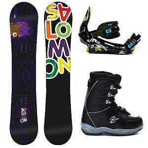 Snowboard Salomon Mini Drift Rocker Kids Complete Snowboard Package - The Salomon Mini Drift Rocker Snowboard Package is designed for the kids that love to play in the park. The Mini Drift Rocker Snowboard is all about park features like the true-twin shape and jib-friendly rocker which helps the kids spin, hop, slide and tap 'til their heart's content. Pres-Sure Rocker profiles super-soft feel and catch-free ride helps young riders progress with confidence and control. You'll have the K2 Vandal Bindings on this board which has a Mini Airframe Highback scaled for smaller riders who are looking to progress and rip up the mountain. A Formed EVA Footbed gives plenty of support and a Profusion PC Chassis allows for a forgiving flex. The Black Dragon X-Ion Boys Snowboard Boots are soft flexing which is what you want when you're starting out your freestyling snowboard career. This boot also features a removable liner that helps create a better fit and also more warmth and comfort. If junior is eyeing the park more than practicing his turns on the groomed trails then the Salomon Mini Drift Rocker Snowboard Package is the way to go. Cost-friendly and fun, they will love it! . Model Year: 2013, Skill Level: Intermediate, Gender: Boys, Product ID: 306118, Skill Range: Intermediate - Advanced, Package Type: Board, Boots, and Bindings, Snowboard Rocker Profile: Rocker, Recommended Use: Freestyle - $229.90