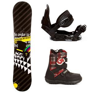 Snowboard SLQ Black Rainbow Kids Complete Snowboard Package - It's a great entry-level snowboard package for any junior rider wanting to get deeper involved in the sport. The SLQ Black Rainbow Snowboard Package gives them something beyond a rental board so they can build upon their basic skill set. The Black Rainbow Snowboard has a camber profile which has great response and edge hold. There is a little bit of pop in this board as well so they can start working on the jumps they can't wait to test out in the park. They'll have 5th Element Stealth Bindings which offer soft flexing and forgiveness. Padding underfoot dampens vibration and eliminates shock so they can feel free to take on anything and land a little easier. Simple, smooth gliding ratchets make for easy entry and exit, while tool-less adjustments allow you to customize this binding to any boot on the fly. Finally, they will have Burton's Grom Boots on their feet. These boots have 3M Thinsulate insulation to help trap the heat in the boots so they have very warm and comfy feet while a snow-proof internal gusset keeps the moisture out and the feet dry. DynoLite outsole with size indicator provides the dampening and cushioning for landings. Best of all, these boots can adjust a full size thanks to the Room-to-Grow footbed. This all-mountain SLQ Black Rainbow snowboard package is priced wallet-friendly and will give the little grom many years of fun on the mountain. . Recommended Use: All-Mountain, Snowboard Rocker Profile: Camber, Package Type: Board, Boots, and Bindings, Skill Range: Beginner - Advanced Intermediate, Model Year: 2013, Product ID: 306126, Gender: Boys, Skill Level: Beginner - $199.99