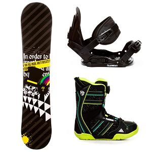 Snowboard SLQ Black Rainbow Kids Complete Snowboard Package - It's a great entry-level snowboard package for any junior rider wanting to get deeper involved in the sport. The SLQ Black Rainbow Snowboard Package gives them something beyond a rental board so they can build upon their basic skill set. The Black Rainbow Snowboard has a camber profile which has great response and edge hold. There is a little bit of pop in this board as well so they can start working on the jumps they can't wait to test out in the park. They'll have 5th Element Stealth Bindings which offer soft flexing and forgiveness. Padding underfoot dampens vibration and eliminates shock so they can feel free to take on anything and land a little easier. Simple, smooth gliding ratchets make for easy entry and exit, while tool-less adjustments allow you to customize this binding to any boot on the fly. The K2 Vandal Boots are easily one of the most kid-friendly boots out there. They have a Boa Lacing System which makes getting ready easy and on-the-fly adjustments a cinch. It also has a Grow-A-Long Footbed which increases the size of the boots as your little snowboarder begins to grow. This all-mountain SLQ Black Rainbow snowboard package is easy to work with and will have your child learning the basics and enjoying every moment they spend on the mountain. . Recommended Use: All-Mountain, Snowboard Rocker Profile: Camber, Package Type: Board, Boots, and Bindings, Skill Range: Beginner - Advanced Intermediate, Model Year: 2013, Product ID: 306132, Gender: Boys, Skill Level: Beginner - $239.99