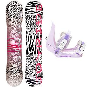 Snowboard Joyride Cheetah White Girls Snowboard and Binding Package - The JoyRide Cheetah White Girls Snowboard Package is a great entry-level board and binding combo that will help build the confidence of your young girl so that she can tackle the entire mountain one day soon. With its Camber profile you can expect the Cheetah White Snowboard to offer great control with a strong edge hold so she can perfect the turns allowing you to face steeper terrain. She will have a little pop to this board as well so she can start working on the park tricks that she has been watching the others test out. The bindings are the Morrow Slider Bindings which feature a tool-less forward lean adjustment which allows you to adjust them quickly and easily for that customized heel edge power. The 360 degree disc mount gives you multiple options for your stance and they also feature a quick and easy to use aluminum ratchet buckles. If she's ready to advance to a board of her own and you're tired of wasting the money renting then check out the JoyRide Cheetah White Girls Snowboard Package. . Recommended Use: All-Mountain, Snowboard Rocker Profile: Camber, Package Type: Board and Bindings, Skill Range: Beginner - Advanced Intermediate, Model Year: 2013, Product ID: 306158, Gender: Girls, Skill Level: Beginner - $149.99