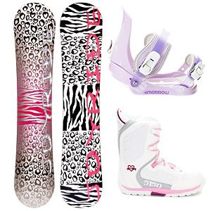 Snowboard Joyride Cheetah White Girls Complete Snowboard Package - The JoyRide Cheetah White Girls Snowboard Package is a great entry-level board, boot and binding combo that will help build the confidence of your young girl so that she can tackle the entire mountain one day soon. With its Camber profile you can expect the Cheetah White Snowboard to offer great control with a strong edge hold so she can perfect the turns allowing you to face steeper terrain. She will have a little pop to this board as well so she can start working on the park tricks that she has been watching the others test out. The bindings are the Morrow Slider Bindings which feature a tool-less forward lean adjustment which allows you to adjust them quickly and easily for that customized heel edge power. The 360 degree disc mount gives you multiple options for your stance and they also feature a quick and easy to use aluminum ratchet buckles. On her feet, she will have the 5150 Brigade Snowboard Boots which will keep her toes cozy and warm all day. Its waterproof shell construction provides ergonomic support to help keep them going and feeling comfortable. The integrated liner will help ensure warm feet from the first run to the last. A cute and fun way to get her above the rental board and advance into a higher skill level, the JoyRide Cheetah White Girls Snowboard Package has the performance and price to make both daughter and parents happy. . Recommended Use: All-Mountain, Snowboard Rocker Profile: Camber, Package Type: Board, Boots, and Bindings, Skill Range: Beginner - Advanced Intermediate, Model Year: 2013, Product ID: 306159, Gender: Girls, Skill Level: Beginner - $179.99