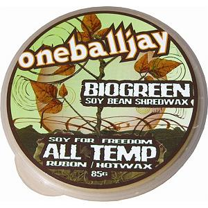 Snowboard One Ball Jay BioGreen Soy Rub-On Wax - When your board starts to stick reach into your pocket and grab One Ball Jay Biogreen Soy Rub-on Wax and apply it to your board and you will be flying down the mountain in no time. It is a hot wax that comes with a rub on applicator and you will turn into a mean, green speed machine. . Model Year: 2012, Product ID: 128551 - $12.95