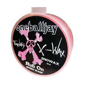 Snowboard One Ball Jay X-Wax Rub On Wax - The One Ball Jay X-Wax Rub On Wax will scream for speed. Part of One Ball Jay's fastest wax collection it is formulated with Fluorinated paraffin's. The X-Wax is good for use in all temperatures and can be applied quickly with the cork applicator. . Model Year: 2012, Product ID: 247337 - $13.95