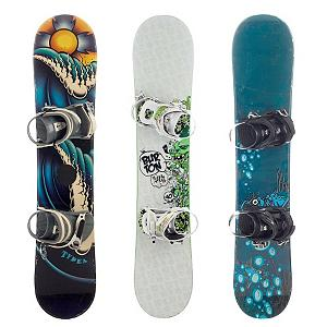 Snowboard Used Basic Boy's Snowboard and Binding Package - These snowboards are non branded boards that are returned from our Junior Trade-In Program. They have typically only been used for one year. They come mounted with a junior binding sized appropriately to the size of the board. Before shipping we check each board and bindings to make sure that they are in good usable shape and have no major flaws. Scratches and other cosmetic blemishes may be present due to use. (Photo is a sample of multiple available models. Model and color varies.) . Product ID: 70025, Skill Range: Beginner - Intermediate - $99.93