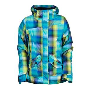 Snowboard 686 Reserved Passion Womens Insulated Snowboard Jacket - 686's Reserved Passion Jacket features a unique, brightly colored plaid patterning with ribbed cuffs and a ribbed hem plus, best of all, a Sherpa-lined collar and upper back body panel for luxurious warmth and comfort. Designed as a fashion forward on and off hill jacket, the Passion still comes with the features you love plus an Infidry-10 laminate that protects against surface moisture absorbing into the jacket while keeping the interior breathable by allowing moisture to vapor through. Keeping the heat cranked is 120g of insulation throughout and handwarmer pockets for quick warm-ups. Critically taped seams provide protection against water seepage through critical seams in the jacket so you stay dry longer. The hood in the Passion features a laminate weather guard hood with a 3-in-1 single-pull drawcord adjustment which locks your hood snugly around your head, beanie or helmet when riding. The internal mesh storage pocket is big enough to hold your goggles. Go from the hill to the bars with the Passion. Features: Thermal Rating TR8: ideal for 0 to 32 degrees Fahrenheit, Articulated elbows, Internal center front zipper flap with chin guard. Taped Seams: Critically Taped, Waterproof Rating: 10,000mm, Breathability Rating: 8,000g, Hood Type: Fixed, Pit Zip Venting: Yes, Powder Skirt: Yes, Warranty: One Year, Battery Heated: No, Waterproof: Moderately Waterproof (5000mm-19,999mm), Breathability: Moderate Breathability (4000g-8999g), Cuff Type: Elastic, Wrist Gaiter: Yes, Waterproof Zippers: No, Cinch Cord Bottom: No, Model Year: 2012, Product ID: 243130, Insulator: No, Insulation Type: Fleece, Tall: No, Length: Medium, Cut: Regular, Type: Insulated, Rain Jacket: No, Race: No, Use: Snowboard, Hood: Yes, Goggle/Sunglasses Pocket: No, Electronics Pocket: Yes, Pockets: 4-5, Insulation Weight: 120 Grams, Softshell: Yes, Exterior Material: Poly multi-color yarn dye ombre plaid and Poly mini herringbone denim - $99.94