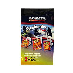Snowboard Having an instant heat source while you just cannot seem to be able to shake the cold is wonderful.  These Grabber Weekender Warmer Packets provide you with warmth that is easy, affordable and necessary. Great for the car, work, home, outdoors or as a gift. Easy to use, long lasting, odorless, non-toxic and air activated.  This Weekender Pack gives you the variety of warmth in individual packs that are easily accessible. All you need to do is open the outer package and expose the packet to air. Each hand warmer packet takes approximately 5 to 15 minutes to reach the average temperature and will last for 10+ hours. Each packet is a one time use, and will reach the average temperature of 135 degree Fahrenheit, or the maximum temperature of 158 degrees Fahrenheit. Easy to transport and to use, just give a few to the kids, put a few in your pocket and you are ready to go and stay warm all day long. Great personal heat packs that are environmentally friendly for the outdoor enthusiasts and family on the go.  Air activated, one time use,  Manufactured with all natural ingredients,  Environmentally friendly,  Non-toxic,  Odorless,  Long lasting,  1 pair of hand warmer packs,  1 pair of toe warmer packs,  2 peel and stick body warmer packs,  Model Year: 2014, Product ID: 178430, Model Number: WKNR3, GTIN: 0045622050712 - $14.99