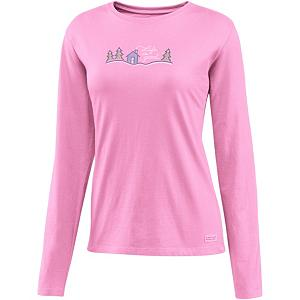 Snowboard Life Is Good Crusher Snow Script Cabin Womens Shirt - Are you looking for relaxed comfort and warmth? The Crusher is made with100% cotton and has a signature softness that you will be sure to enjoy. Life is Good created this with a slight waist shape, ribbing at the neck, and narrower cuff and hem, all to maintain this feminine touch. This is a great shirt to lounge around in or even to layer under your outer gear. . Hood Type: None, Material: 100% Cotton, Fleece Weight: None, Category: Light-Weight, Hood: No, Warranty: Lifetime, Battery Heated: No, Type: Crew/Mock Top, Wind Protection: No, Type: Tees, Material: Cotton, Pockets: None, Wicking Properties: No, Type: Long Sleeve, Water Resistant: No, Model Year: 2013, Product ID: 269536 - $35.00