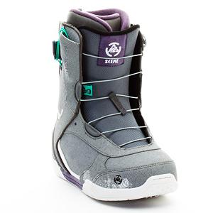 Snowboard K2 Scene Womens Snowboard Boots - Street style kicks on the snow with the K2 Scene Snowboard boots. Made for the advancing women's rider looking for lightweight and easy to tighten performance. The Scene is not just street focused style without substance. Intuition custom fit and Conda ankle hold adjustment on the fly show up all those that try and step. Smooth looks, soothing comfort and on-demand performance define the K2 Scene snowboard boots. So whether you are looking for a softer park boot or simply a balance between quality and convenience in the K2 Scene snowboard boots. . Material: Intuition Comfort Fit 3D Liner, Lacing Style: Quick Lace, Recommended Use: All-Mountain, Removable Liner: Yes, Flex: Soft, Warranty: One Year, Intuition Liner: Yes, Brand Lacing Style: K2 Speedlace, Skill Range: Intermediate - Advanced, Model Year: 2012, Product ID: 234944, Shipping Restriction: This item is not available for shipment outside of the United States., Gender: Womens, Skill Level: Intermediate - $99.99