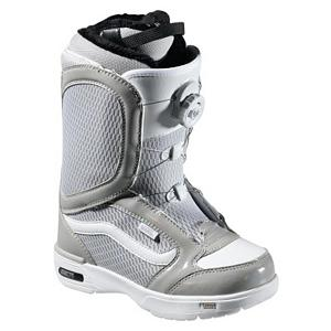 Snowboard Vans Encore Womens Snowboard Boots - The Vans Encore Snowboard Boots are the original and best selling boots in the Vans line and they have gotten better for 2012. They feature a soft, forgiving flex with the quick and easy Boa Coiler lacing system. This closure system gives you ankle and cable guides along the edge to give you an evenly locked in fit that will have your feet feeling good and will not loosen as the day of shredding goes on. These boots also feature a Pleasure cuff that was designed to allow the cuff of the boot to adjust to your specific calf size to keep the boots comfortable and forgiving on your feet. Full instep articulation on the Vans Encore allows the upper and lower zones of the boots to flex independently to give you one fluid motion. A better fit and comfort is enhanced by the internal web harness and OTW lace lock that gives you a better fit and prevents the liner from moving inside the shell to give you a secure heel hold. Do your feet a favor by slipping on the Vans Encore Snowboard Boots for your fun day of shredding the mountain. . GTIN: 0885928754583, Model Number: VN-0NFN1XM 070M, Skill Level: Intermediate, Gender: Womens, Product ID: 274082, Model Year: 2012, Skill Range: Intermediate - Advanced, Brand Lacing Style: Vans Boa Coiler Closure System, Intuition Liner: No, Warranty: One Year, Flex: Stiff, Removable Liner: Yes, Snowboard Best Use: All-Mountain, Lacing Style: Boa, Material: TriFit X Thermal Liner - $49.94