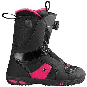 Snowboard Salomon Ivy Boa Str8jkt Womens Snowboard Boots - The Salomon Ivy Boa Straight Jacket Snowboard boot is a real charmer. Boa's speed, combined with Salmons STR8JKT technology which wraps your feet for confidence boosting response. All of this is built into their Ivy's comfortable, lighter weight construction. One of Salomon's best-selling boots for riders of every level. The subtle herringbone design around the calf and tongue complements the Balance Level 1 liner and the Mystic Footbed. With a flex rating of 5 the Ivy has a medium flex which is a progressing boot for riders looking to take their skills to the next level. The Level 2 Mystic footbed is the only antimicrobial footbed in snowboarding that increases blood circulation, prevents fatigue and embodies natural healing from the bottom of your feet to the top of your head. The Balance level liner wraps around your entire foot and disperse lace tension into a balance building harness. Toasty Toes fur is soft and warm and makes your feet feel like they are sitting next to a fire instead of on a cold mountain. . Material: Balance Level 1 Liner, Lacing Style: Boa, Recommended Use: All-Mountain Freestyle, Removable Liner: Yes, Flex: Medium, Warranty: One Year, Intuition Liner: No, Brand Lacing Style: Boa Coiler + STR8JKT, Skill Range: Advanced Intermediate - Expert, Model Year: 2013, Product ID: 281945, Gender: Womens, Skill Level: Advanced Intermediate - $149.95