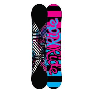 Snowboard Ride Rapture Womens Snowboard - It is ladies night every night with the Ride Rapture. This board is the right board for either that woman just starting out or a lady looking for a smooth easy to ride freestyle board. The LowRize rocker shape makes this board super forgiving by lifting the contact points of the board of the snow, for the lady just getting into the sport it creates a board that does not try to hook up into a turn when you are not ready for it, and for the lady looking for a playful jib stick it makes the board playful and buttery for all day fun in the park. Add in the solid wood Foundation Tuned core and Ptex sidewalls you are going to enjoy all the hill all day on the stylish twin. . Actual Turn Radius @ Specified Length: 7.9m (@147cm), Base Name: Fusion 1500, Core Name: Foundation Tuned Core, Recommended Use: All-Mountain Freestyle, Waist Width: 239mm (@147cm), Stance Width: 457-508mm, Stance Setback: Centered, Special Features: Ptex Sidewall, Rocker Profile: Rocker, Shape: Twin, Flex: Soft, Pipe Oriented: No, Board Width: Regular, Rocker Type: LowRize Rocker, Core Material: Wood, Construction Type: Sidewall Construction, Hole Pattern: Standard 4 Hole, Magnatraction: No, Base Material: Extruded P-tex, Warranty: One Year, Skill Range: Beginner - Advanced Intermediate, Model Year: 2013, Product ID: 280999, Shipping Restriction: This item is not available for shipment outside of the United States., Gender: Womens, Skill Level: Beginner - $219.90
