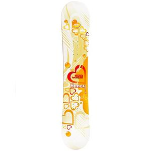 Snowboard JSB Honey Womens Snowboard - Its time to ditch your old snowboard and strap into something that may fit your style better, with the JSB Honey womens all mountain snowboard that should not be an issue. The Honey is perfect for any beginner looking to get away from renting every time and want their very own snowboard. The Honey features a cap or sandwich construction which makes getting the snowboard on edge much easier, allowing for easier turning. A Camber profile gives the riders more control, easier to make toe-side and heel-side turns which are the basics of snowboarding. Camber provides amazing edge hold on icy and all weather conditions. A Camber profile gives the Honey the ability for riders to charge down the mountain effortlessly while having the power to ollie over any object in there way. With its flex the Honey is the perfect snowboard for any women making their first turns ever or not looking to break there bank. . Recommended Use: All-Mountain Freestyle, Rocker Profile: Camber, Shape: Directional Twin, Flex: Medium, Board Width: Regular, Core Material: Wood, Construction Type: Cap Construction, Hole Pattern: Standard 4 Hole, Base Material: Extruded P-tex, Warranty: One Year, Skill Range: Beginner - Advanced Intermediate, Product ID: 297182, Gender: Womens, Skill Level: Beginner - $99.99