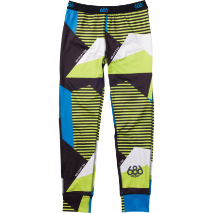 Entertainment Change your boy's cold, wet, and whining tune with the 686 Boys' Mix Baselayer Bottom beneath his snow pant. The quick-drying, microfleece-lined fabric will leave him little to complain about while he rides through the cold and snowy days of winter. - $36.00