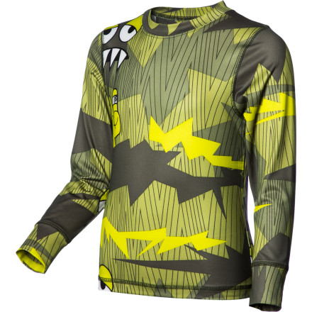 Entertainment A warm jacket can still make for a chilled day without a midweight baselayer like the 686 Boys' Camotooth Baselayer Top underneath. Its microfleece-lined, quick-drying fabric ensures that he stays warm and dry while he shreds on cold winter days. - $16.20