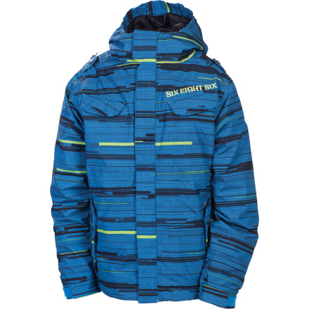 Snowboard With storm-blocking Infidry-8 fabric and a zip-out fleece liner, the 686 Smarty Streak Insulated Jacket prepares your kid for just about any weather condition he'll encounter on the hill all season. The snip-and-pull Youth Evolution system makes it easy to add a couple of extra inches in length to the sleeves to accommodate those unexpected growth spurts. - $72.00