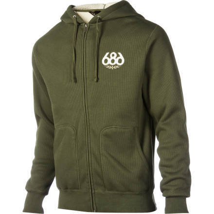With your high level of raging on the mountain, you need an equally high level of relaxation afterward. The 686 Icon Sherpa Premium Full-Zip Hoodie provides enough soft, warm comfort so you can achieve maximum chillation and be ready to do it all again the next morning. - $59.50