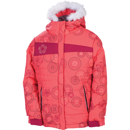 Snowboard The 686 Girls' Mannual Gidget Puffy Insulated Jacket is one for the cold days. The really cold days, the single- or even negative-digit days where everyone in the family is having second thoughts about heading to the slopes. At least one member is voting to go, because she knows the Gidget Puffy has the stuff to keep her dry and warm (and hot style she wants to show off). - $49.00