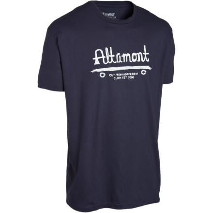 Skateboard The Altamont Centair T-Shirt features a rudimentary cave drawing of a primitive skateboard, presumably left behind by the early Neanderthal thrashers who used stone decks and mammoth-tusk wheels. (Please do not quote us on this during your next history exam.) - $11.67