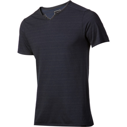 Surf Somewhere between a deep V-neck shirt and a Henley lies the Ambiguous Langston Men's Short-Sleeve Shirt. Perfect for when you want to look classy, but not too classy. After all, you have a reputation as a scumbag to maintain. - $22.77