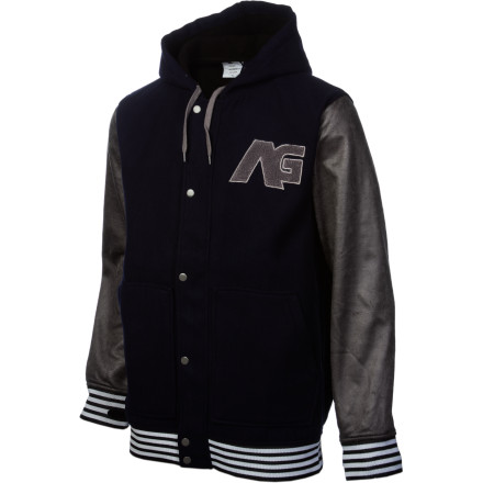Show your love for Team AG with the Analog Rivalry ATF Jacket. This letter-jacket-style piece features the extended Team Fit for plenty of coverage on the hill, and functional features like a water-resistant coating and underarm zip vents. But we know you mostly just care about the pleather sleeves and fresh styling. - $54.97