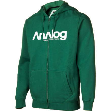 Throw on the Analog Enterprise Full-Zip Hooded Sweatshirt and venture down to the local watering hole. Cozy 330-gram fleece fabric keeps you warm, until you make a pass at the irritable bartender and she hoses you off with a high-powered stream of club soda. - $31.98