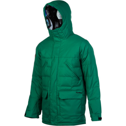 The Analog Eastbound Down Jacket keeps you warm so you can finally give up on your old beer-coat strategy. This cozy down coat blocks the cold and holds your body heat right where you need it. Now, when you're riding the lift during a cold snap or frigid night session, you can just snuggle into your jacket instead of trying to drink the cold away. - $143.98