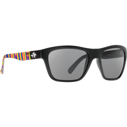 Entertainment The Anarchy Status Sunglasses has more than a good thing going on thanks to its smooth and clean style. Lightweight and flexible components make the Status easy to wear, and its scratch-resistant lenses offer you 100-percent protection from the suns harmful rays. - $44.95