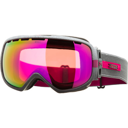 Snowboard Huge goggles that encompass your entire face really don't do it for you, so go with the Anon Women's Somerset Goggle. Designed specifically for lady riders, these fashion-forward goggles feature a low profile, sleek design, lightweight frame, and Full Perimeter Channel Venting to give you fog-free vision no matter what the weather decides to do. - $89.97