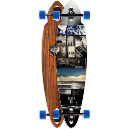 Skateboard The Arbor Mindstate Koa Longboard combines drop-through stability with pintail carve-ability. A fiberglass-reinforced wood design creates a light, snappy flex that's super maneuverable, thanks to the compact pin shape. - $206.96
