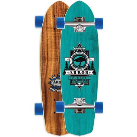 Skateboard The compact and super-stashable Arbor Pocket Rocket Koa Longboard makes short work of cruises across campus, down to the corner store, or through crowded airport terminals (try that last one at your own risk). - $119.96