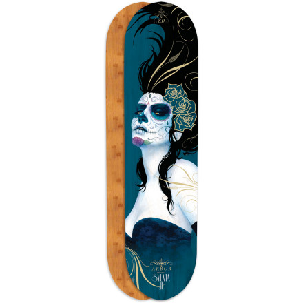 Skateboard The Whiskey Skate Deck features Arbor's unique bamboo/maple blend for tons of pop at minimal weight. Mount it up and thrash it, or just hang it on your wall and appreciate Sylvia Ji's hauntingly unique brand of art. - $44.96