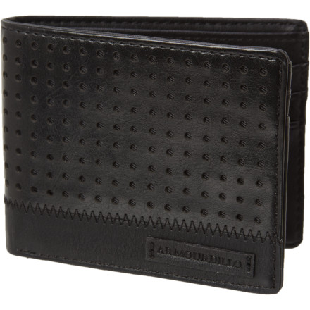 Sports The Armourdillo Riddle Wallet boasts more stylish punctured leather than last week's bachelor party. Stash your credit cards, grocery cards, basketball cards, trump cards, and pet cardinal in the Riddle's numerous slots. - $18.71
