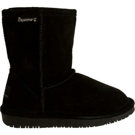 Give your little girl that coveted suede-and-sheepskin-bootie look (and feel) without spending ridiculous amounts of money with the Bearpaw Little Girls' Emma Boot. In addition to the look, she gets the same smooth suede upper and cozy, plush sheepskin interior that wicks and breathes for all-day comfort. The Emma's lightweight, flexible rubber outsole offers improved grip on wet surfaces without excessive weight. - $41.97