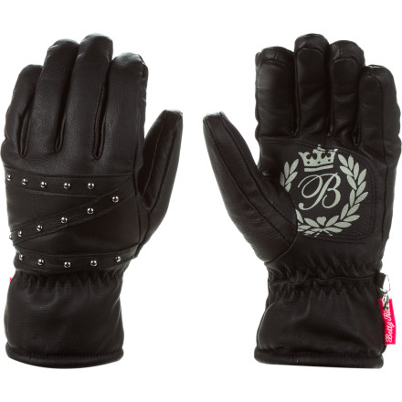 Nip the chill, shed the flakes, and look sassy-stylish doing it in the Betty Rides Women's Posh Glove, with cozy Thinsulate insulation and a waterproof, breathable insert for weather protection. Its pigskin leather shell is feel-great durable, and a PU palm affords you good grip. And the Betty Rides insignia on the palm and matte, silver studs on back of hand convey to your fellow rippers that there's no need to sacrifice hot looks for warm hands. - $55.97