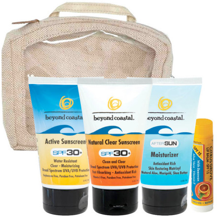 Snowboard The TSA-friendly Beyond Coastal SPF 15 Active Travel Kit keeps the on-the-go beach-lover covered. Including two SPF 15 tubes, an AfterSun Moisturizer, an easily applicable SPF 30 Face Stick, and Beyond Coastal's acclaimed Citrus Grove lip balm, this full kit will help keep you burn-free. - $39.90