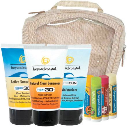 Snowboard Keep the whole family covered and burn-free with the Beyond Coastal Large Travel Kit. Complete with tubes of Active 30, streak-free Natural Clear, and AfterSun Moisturizer, the Large Travel Kit also includes flavored lip balms. - $66.90