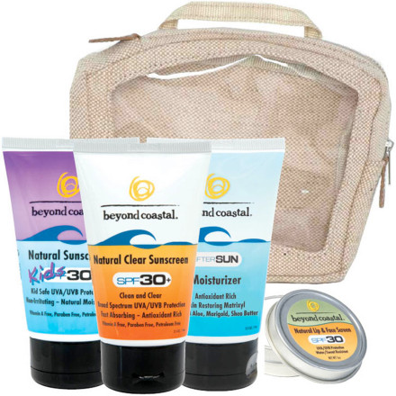 Snowboard Keep the whole family's zinc oxide protection nearby with the Beyond Coastal Large Travel Kit. Complete with tubes of Kids Natural, streak-free Natural Clear, and Aftersun Moisturizer, the Large Travel Kit also includes Lip & Face screen. - $62.90