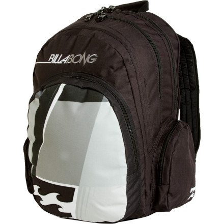 Skateboard No matter your destination, be it surf, school, ditching school, ghetto camping, or an epic road trip, grab the Billabong Supremacy Surf Backpack before you head out the door and be ready for whatever awaits. The Supremecy boasts a large 24-liter main compartment to store clothes, wetsuit, books, and super-nerdy role-playing games. A handy stationary pocket holds all your work and school needs while the two side zippered pockets hold tools, music, wax, and a couple of secret recipe drumsticks. - $27.23