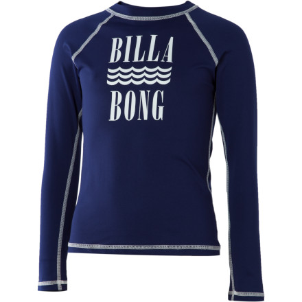 Surf Lathering sunscreen on your little girl is not your favorite pre-beach ritual, and it's not her favorite either. The Billabong Little Girls' Tori Long-Sleeve Rash Guard helps keep the sun off your girl's shoulders, back, and front while she romps in the ocean waves or dashes around the water park ... and all without the sunscreen struggle. - $14.48