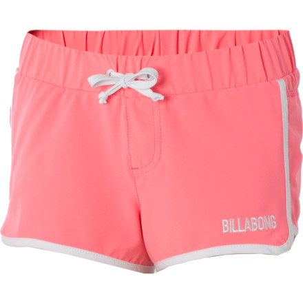 Surf The Billabong Little Girls' Lee Board Short is the perfect summer volley short for swimming or just running through the sprinklers while waiting for the ice cream truck to come down your street. - $8.84